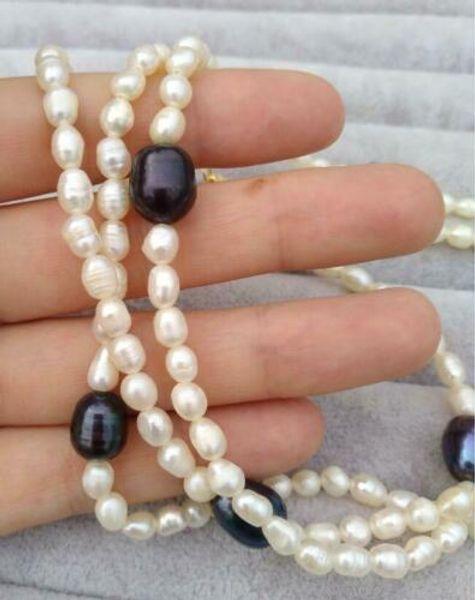 impresionante cierre redondo de 40 pulgadas de 5 a 11 mm de color tahitiano, color negro, collar de perlas.