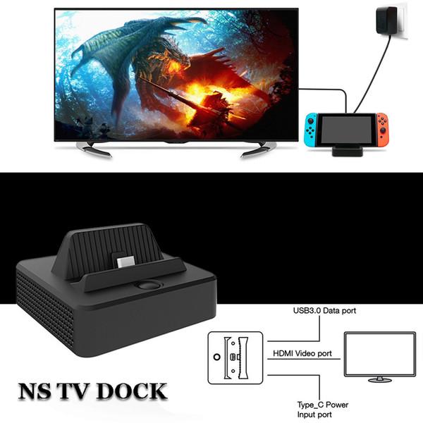 Venda quente Console de Vídeo Conversor Portátil Mini HDMI TV Estação de Carregamento Dock Dock Charger para NS Nintendo Switch frete grátis