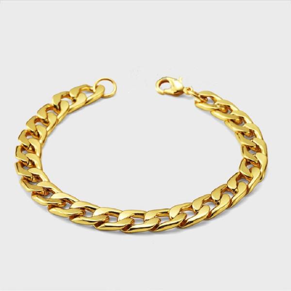 Fashion Design Uomo cubano bracciali catena Hip Hop gioielli in oro colore punk pezzi di riempimento uomini bracciali cubani per gli uomini lunghi 22 centimetri