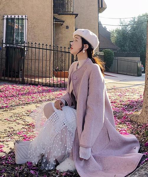 2019 yeni patlama modelleri sıcak popüler yün ceket kadın uzun bölüm sonbahar ve kış Hepburn tarzı gevşek pelerin yün ceket pembe