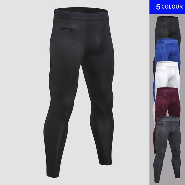 New Zipper Pocket Compression Pants For Men Quick Dry Men's Gyms Pant Jogger Leggings Fitness Clothing Workout Skinny Trouser