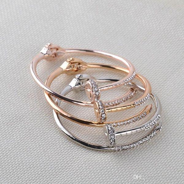 Bonito brazalete de uñas brazalete para mujer y hombre joyería plata oro rosa abierto brazalete pulsera brazalete