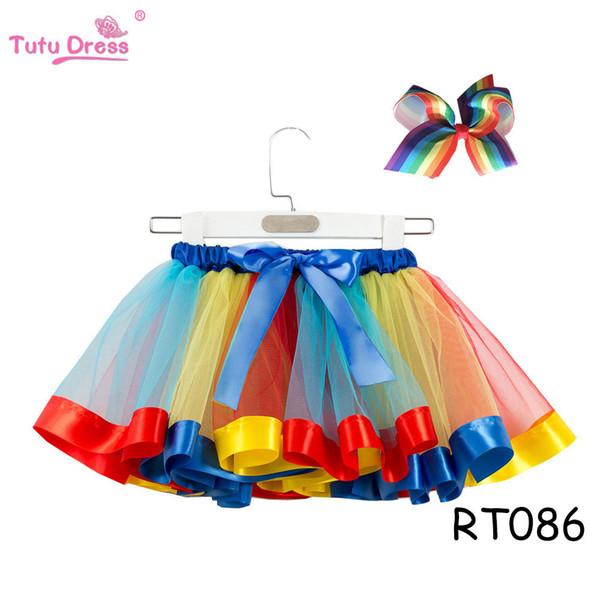 Faldas Tutu para niñas 2019 Verano Nueva Moda Arco Iris Pettiskirt Lindo Minifalda Festival Rendimiento Ropa Niños Princesa Vestido con Arco 2 PC