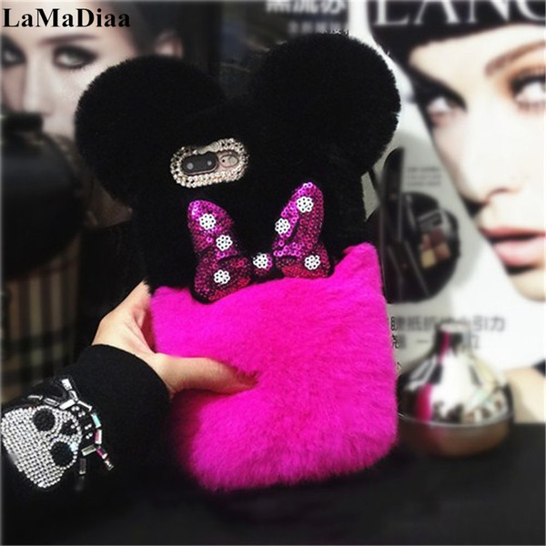 Lovely Warm Phone Case For Samsung S6 S7 edge S8 S9 Plus Note 5 8 9 Luxury Top Fluffy Plush Rabbit Fur Hair Ball Protective Case