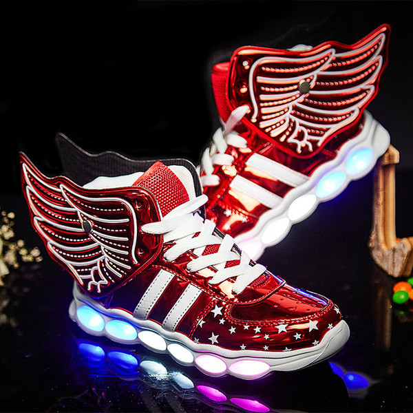 Gold Red Shoes For Boys Girls Fashion Light Up Casual Kids Usb Charging Outdoor New Simulation Sole Glowing Children Sneaker Y190525