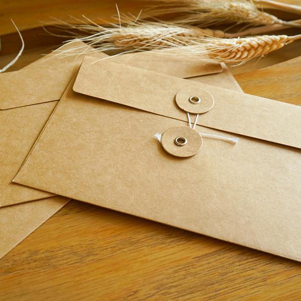 Vintage Linie Buckle Informationen Bag Büroschulmaterial Brief Umschläge mit Papier-Aufkleber Lagerung Papiertüte Umschläge