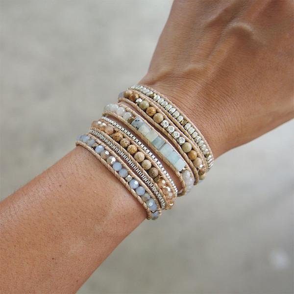 Amazonite Mix 5 Wickelarmband, Boho Beadwork 316 Edelstahl Box Chain Armband Schmuck Drop Ship