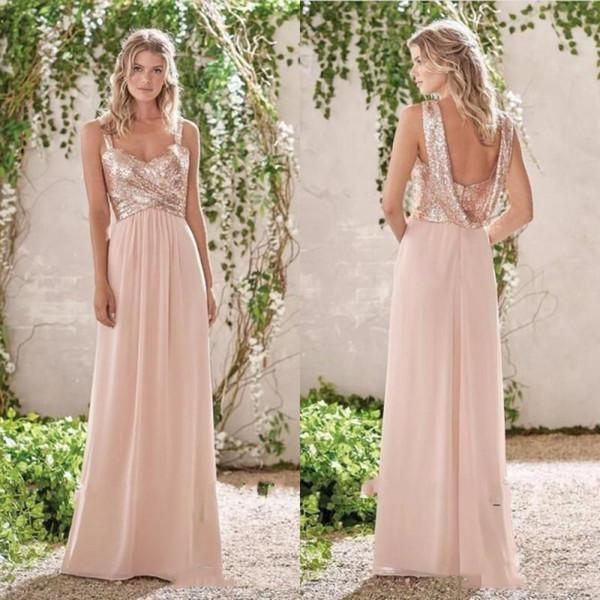 Glitter Sequins Rose Gold Bridesmaids Dresses Long 2019 A Line Sexy Straps Backless Weddding Guest Gowns Cheap Junior Bridesmaid Dress