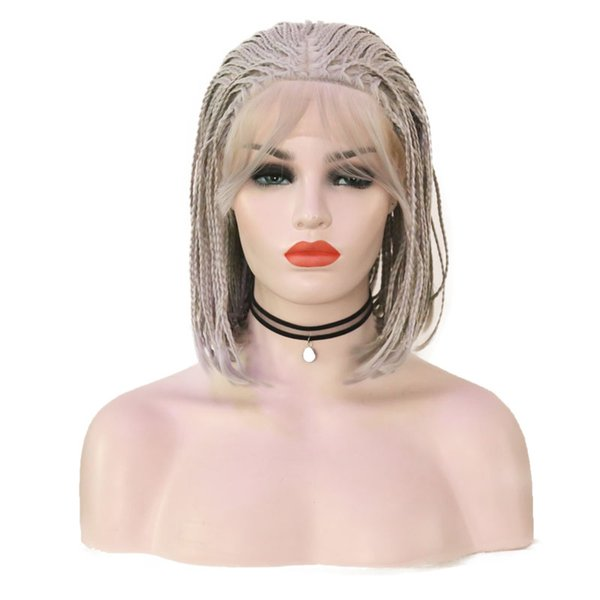 Free Shipping Grey Wig Heat Resistant Braid Hair Glueless Synthetic Lace Front Wig Braided Wigs for Black Women 14 Inches Short Bob Wig