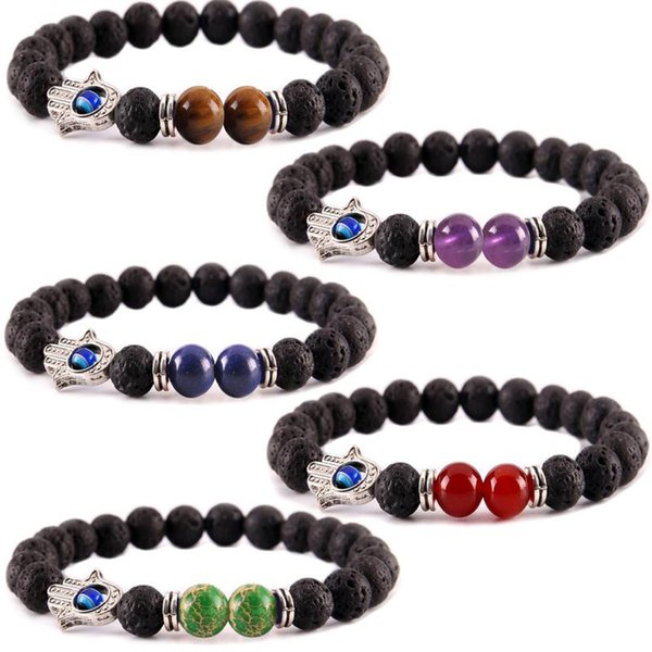 7 Chakras Bead Bracelet Lava Stone Reiki Healing Balancing Round Beads Hamsa Hand Charm Nature Stone Perfume Bracelet