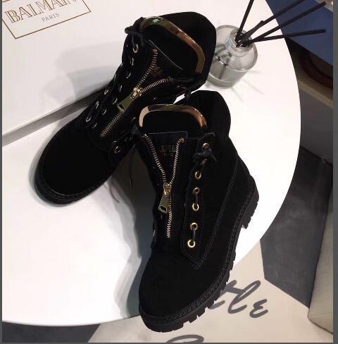 Bottines à talon bas en cuir Femininas à la mode pour femmes, zippées à lacets Bottes Martin Nouveau style de bottes Femininas avec boîte