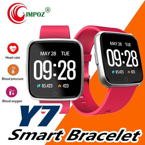 2019 Y7 1.3 '' IPS Pantalla IP67 Impermeable Pulsera Inteligente Sueño Frecuencia Cardíaca Monitor de presión arterial Bluetooth Pulsera Inteligente Reloj de pulsera