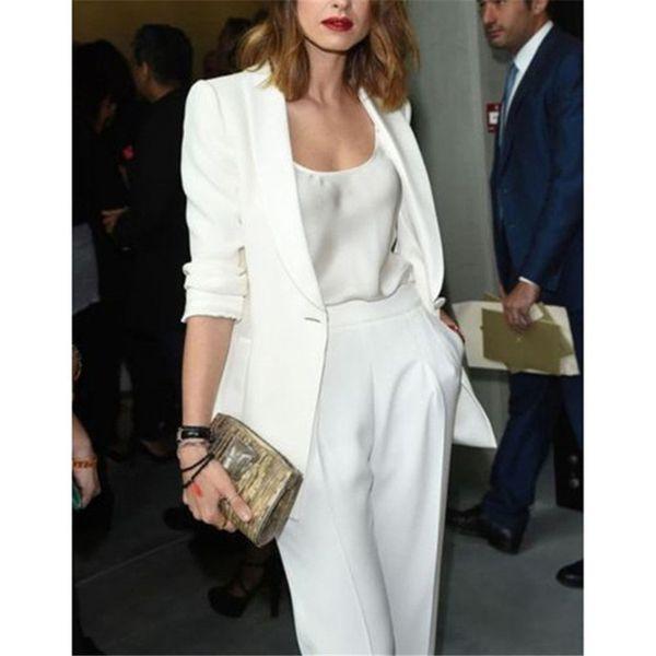 White Women Ladies Business Office Tuxedos Formal Fashion Work Wear Suit Bespoke