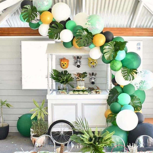 Decorazione festa di nozze Flamingo Summer Party Supplies Foglie di palma Hawaiian Birthday Jungle Beach Tema Party Ananas Balloon