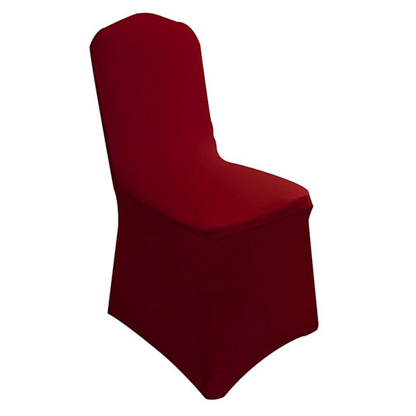 6 Pieces Elegant Stretch Strap-free Chair Covers Bi-Elastic Chair Cover made of Elastane for banquet hall (Wine red)