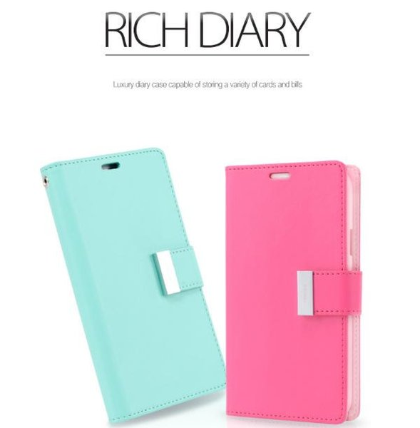 2019 Mercury Rich Diary Wallet PU Leather Case with 2 Card Slots Side Pocket TPU Cover for iPhone XS MAX 8 Plus S10 S9 NOTE 9