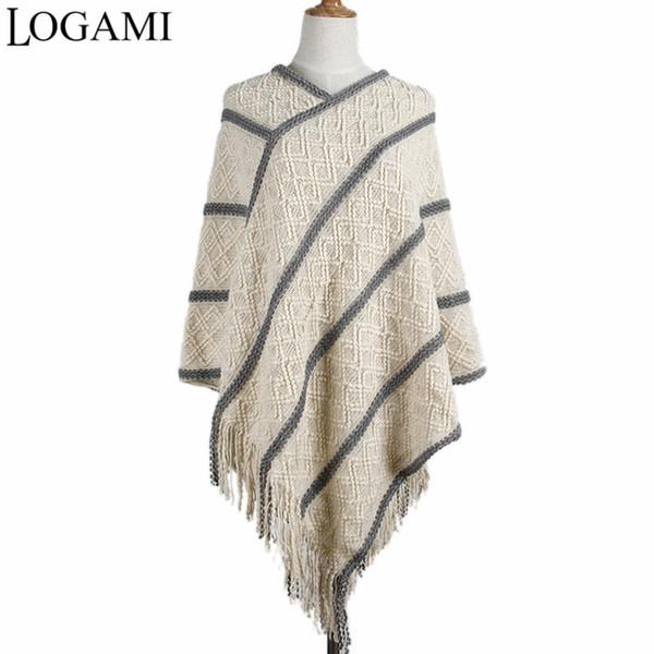 LOGAMI Ladies Poncho Coats Knitting long Ponchos For Women Crochet Irregular Stripes V Neck Tassel Capes Pull Femme 2017