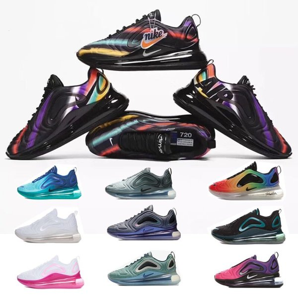 best selling New AIR 2019 MAX 720 Running Shoes Full Cushioned Men Women Neon Triple Black Carbon air Grey 72C Metallic Chaussures max Sneakers 36-45