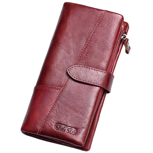 Gzcz frauen brieftasche aus echtem leder weibliche lange kupplung dame geld tasche magic reißverschluss geldbörse