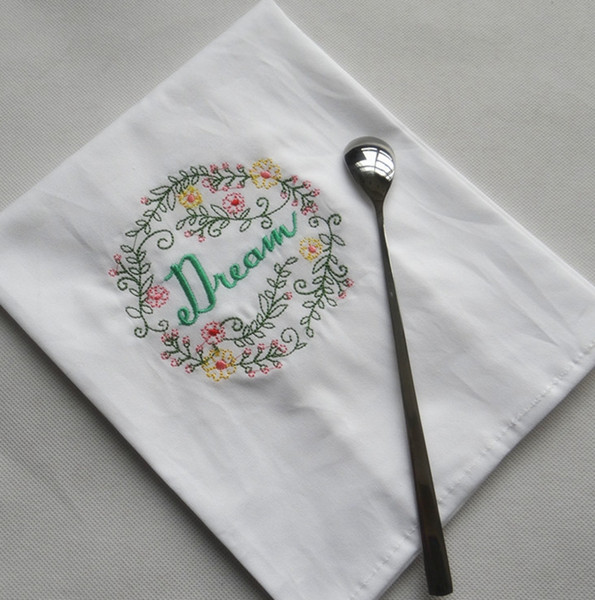 best selling Embroidered Napkins Letter Cotton Tea Towels Absorbent Table Napkins Kitchen Use Handkerchief Boutique Wedding Cloth 5 Designs WZW-YW3845