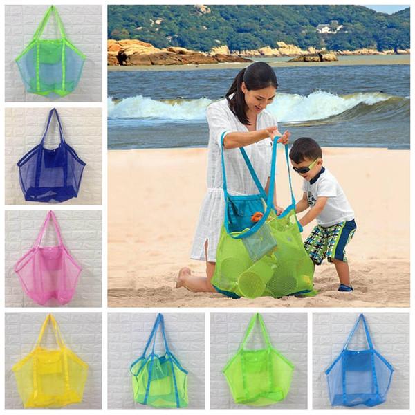 Bolsa de malla Color caramelo Gran capacidad Arena Ausente Playa Bolsa de malla Juguetes para niños Shell town Net Baby beach beach toys Organizador Tote CLS260