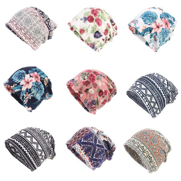 Women Double Use Cotton Turban Hat Floral Geometric Printed Beanie Ponytail Cap Ethnic Headband Elastic Neck Scarf