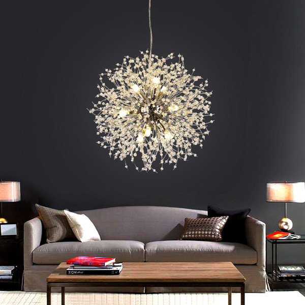 Modern Dandelion LED Ceiling Light Crystal Chandeliers Lighting Globe Ball Pendant Lamp for Dining Room Bedroom Living Room Lighting Fixture