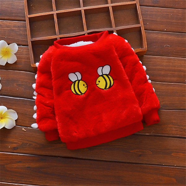 good quality fashion style winter warm thick baby girls sweater infant newborn kids fleece velvet outerwear toddle cotton sweater
