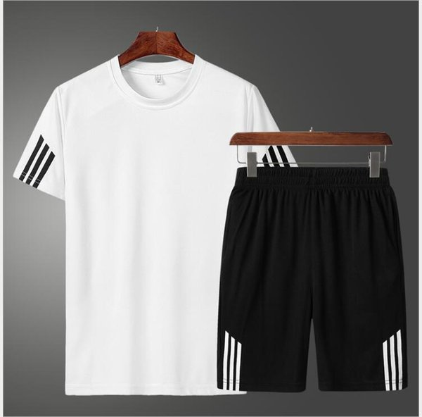 Trainingsanzüge Herren Set Sommer Trainingsanzüge Set Kausal Strand Kurzarm Sweatshirt + Hosen Sportanzug Sweatsuit 2PC Tshirt + Shorts