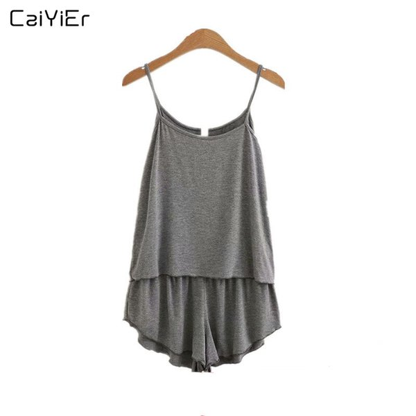 Caiyier 2019 Summer Sling Pajamas Set Gray Sleeveless Sleepwear Modal Soft Vest + Short Pants Nightgown Thin Cotton Sexy Homewea