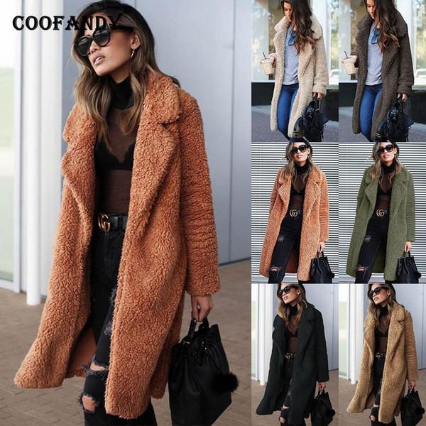 Artı Kış Coat Faux Sıcak Boyutu Moda Rahat Sıcak Giyim Kalın Ceketler Kadın Katı Palto Ceket Polar Kürk