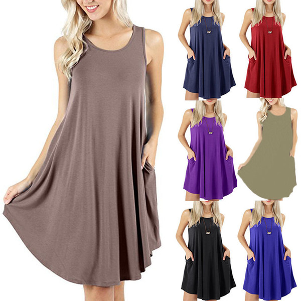 Fashion Casual Pure Color Sleeveless Vest Swing T Shirt Modal Fabric Comfortable Summer Apparel 8 Colors Women Dress with Pocket
