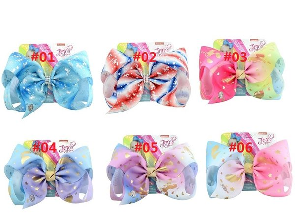10 Color 8 Inch Rainbow Unicorn Mermaid Star Print Grosgrain Ribbon Bows Clips Jojo Kids Hairpin Hair Clips Barrettes Beautiful HuiLin C228