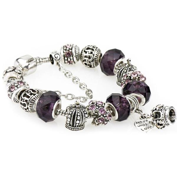 Sterling Silber Armbänder Fit Pandora Frauen Lila Diamant Facettierte Murano Glasperlen Openwork Crown Charms Perle Armreif Herz Anhänger