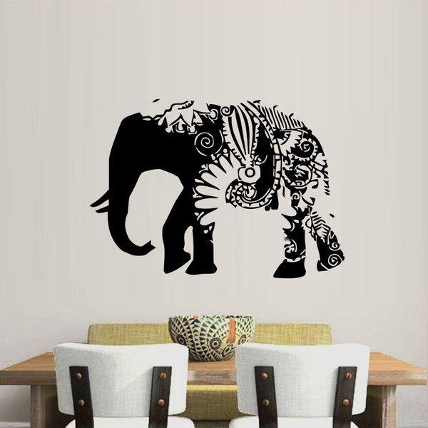 1 Pcs Ganesha Wall Decals Indian Elephant Vinyl Sticker Home Decoration Floral Art Design Removable Decal Bedroom Nursery Decor