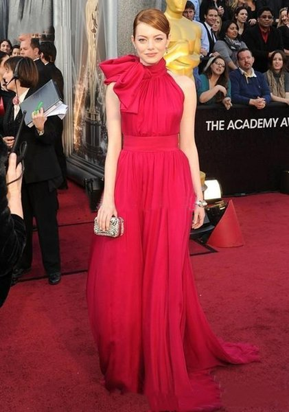 Elegant Oscar Red Celebrity Evening Dresses A Line New 2019 High Neck Halter Neckline Ruched Simple Prom Party Wear Sweep Train Plus Size