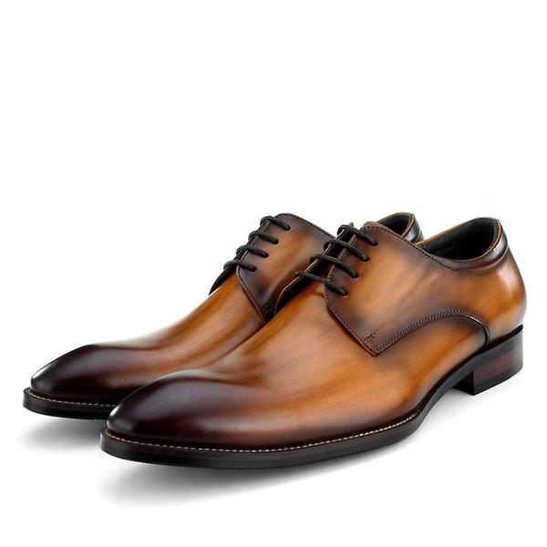 Mode Brown / Black / Tan Business Kleid Schuhe Mens Social Schuhe aus echtem Leder Hochzeit männlichen Bräutigam