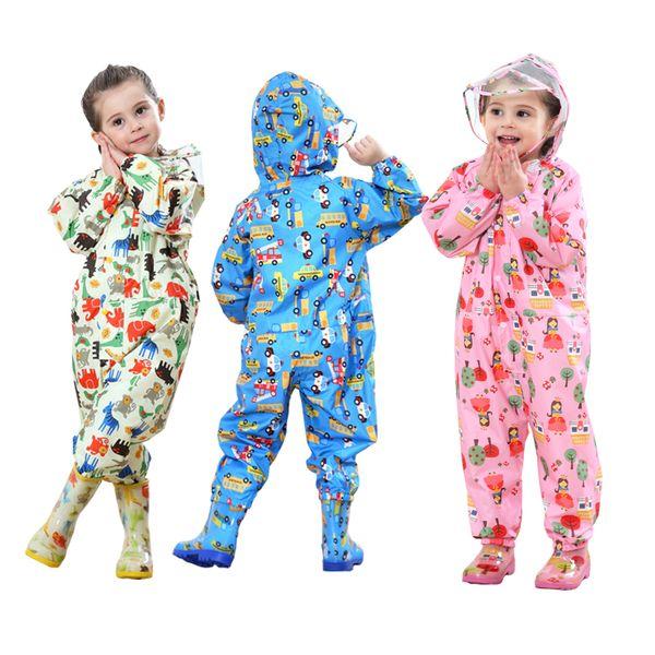 어린이 만화 비옷 어린이 방한복 레인 코트 비옷 아기 소년 소녀 방수 판쵸 비옷