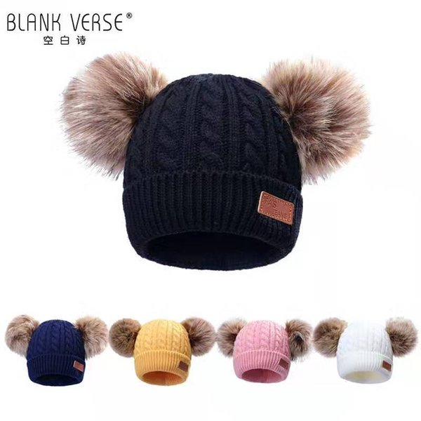 Children's cute double fur ball cap winter hat wool cap