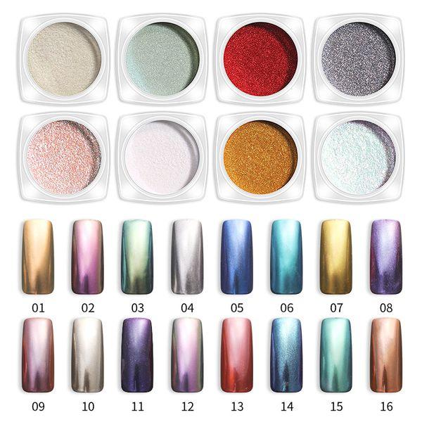 best selling 16 Colors Shiny Mirror Powder Nail Art Glitter Chrome Nail Art Dip Powder Pigment turn colors Manicure Mirror Nail Gel Polish Glitter Dust