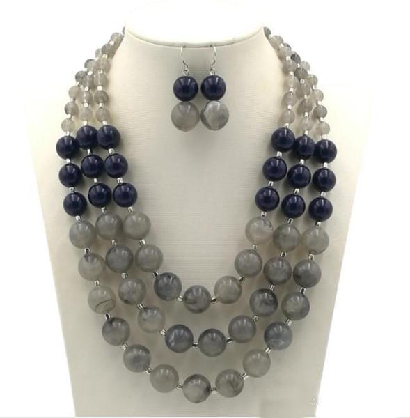 Mode übertrieben Halskette Ohrringe Set Hand Perlen mehrschichtige Halskette Ohrringe Anzug Geschenk für Frauen und Mädchen