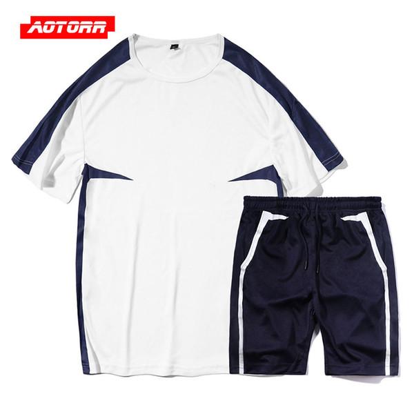dad34e0c507 2019 летний мужской комплект короткий спортивный костюм Fasion спортивная  мужская одежда короткий комплект мужская 2 шт