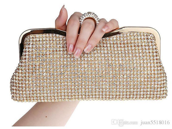 New Rhinestones Women Clutch Bags Diamonds Finger Ring Evening Bags Crystal Wedding Bridal Handbags Purse Bags Black/gold Silver