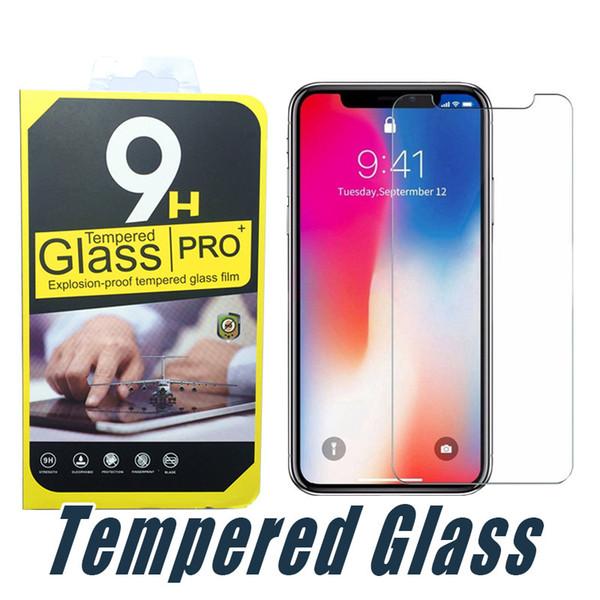 Für iphone x xr xs max 8 7 6 plus gehärtetem glas displayschutzfolie anti-shatter 9 h 2.5d film mit kleinpaket