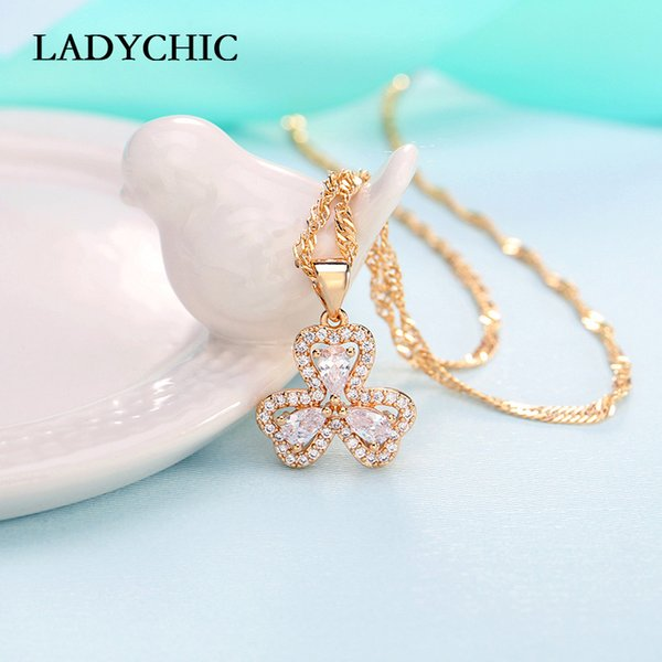 LADYCHIC High Quality Crystal Clover Pendant Romantic Three Leaves Flower Lucky Necklaces Women Jewelry Gift Wholesale LN1141
