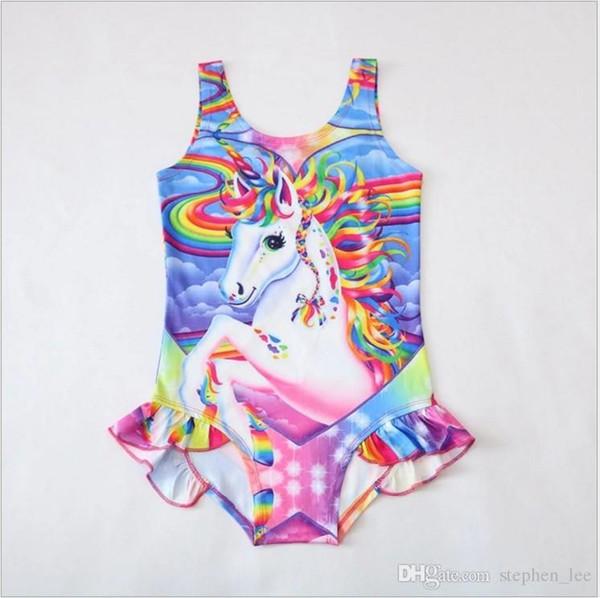Costumi da bagno da ragazza al dettaglio Unicorno Costumi da bagno da un pezzo Ragazze Estate Principessa Gonne Costumi da bagno Bambini Bikini Costumi da bagno Tuta Bambini Costumi da bagno Cartoon