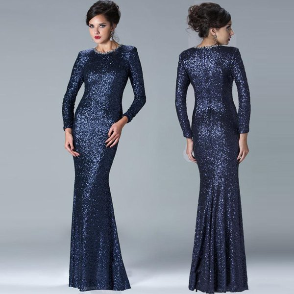 Elegant Janique Sheath Mother of The Bride Dresses Navy Blue Long Cap Sleeves Jewel Sequins Modest Sparkly Evening Gowns Wedding Guest Dress