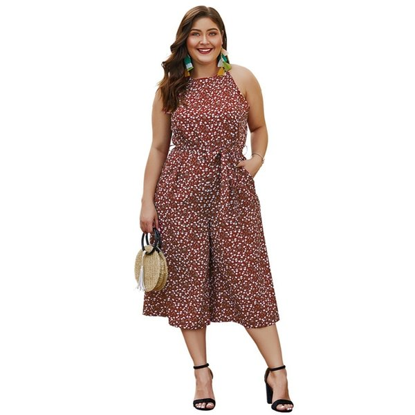 Whzhm Sleeveless Jumpsuit Female Rompers Red Plus Size 3xl 4xl Women Playsuits Off Shoulder Sashes Pockets Femme Bodysuits Y19071701