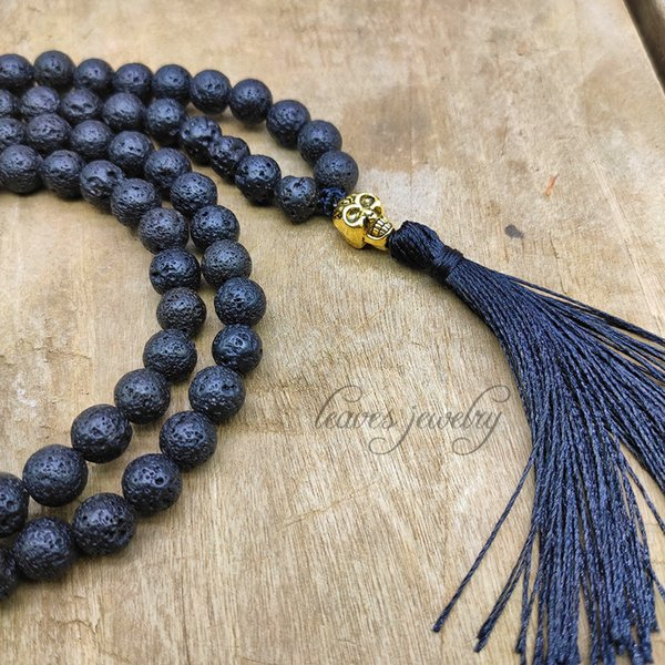90 cm Couples Necklace Quality 8MM Lava Stones Pyrite Skull Pendant Tassel Mens Necklace Beads Women Jewelry Gift Dropshipping