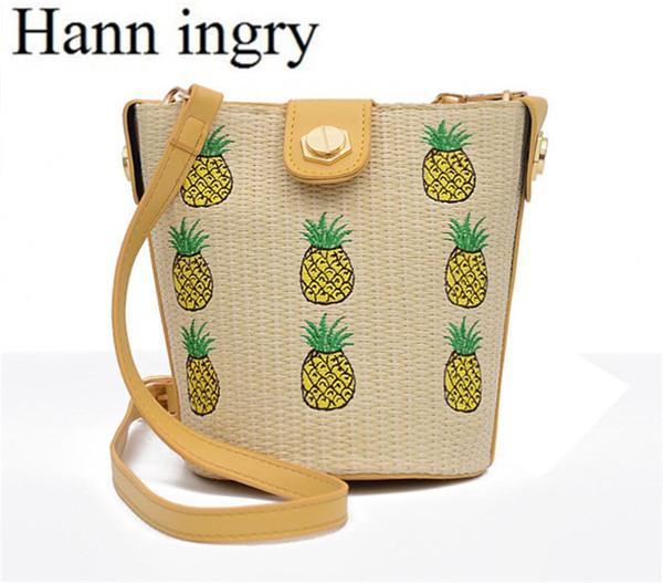 HANN INGRY Fashion Simple Bucket One Schultertasche Lady Hand-Made Strohsack Sommer Bohemian Style Kleine Leichtigkeit Handtasche H341D